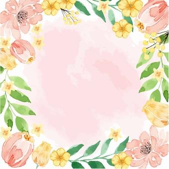 Cadre texturé floral aquarelle rose corail