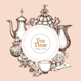 Cadre de thé vintage