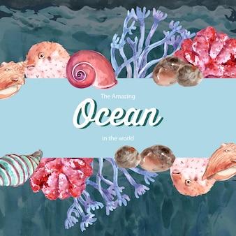 Cadre avec thème de la vie marine, modèle d'illustration couleur contraste créatif.