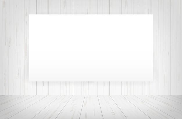 Cadre de toile blanche dans le fond de l'espace de la pièce.