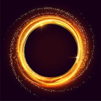 Cadre de tourbillon lumineux fait avec des étincelles et un fond de particules