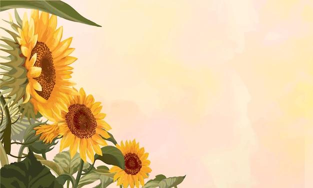 Cadre de tournesol en fleurs