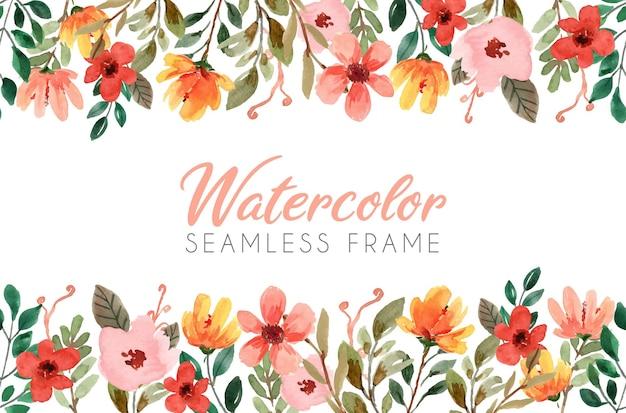 Cadre transparent floral aquarelle avec des éléments de fleur jaune et orange