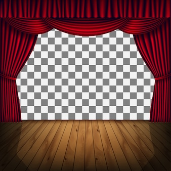 Cadre transparent de scène avec rideau rouge