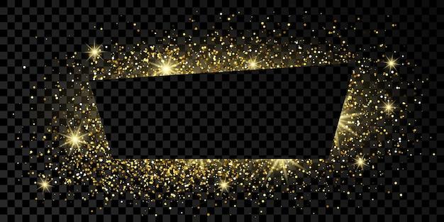 Cadre trapèze doré avec paillettes, étincelles et fusées éclairantes sur fond transparent foncé. toile de fond de luxe vide. illustration vectorielle.