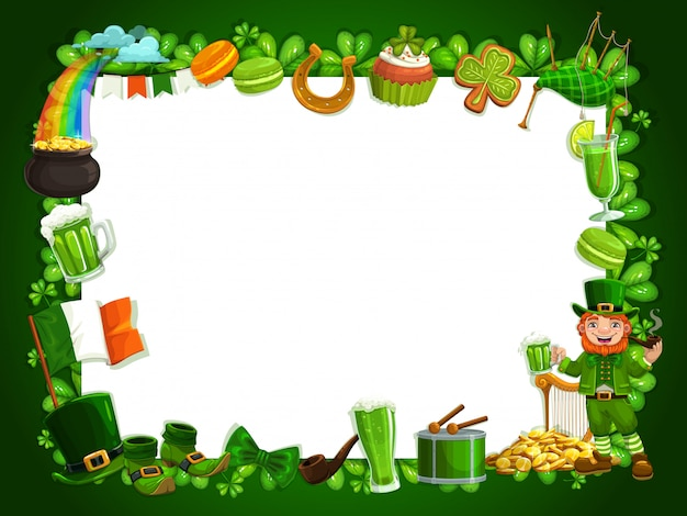 Cadre de trèfles irlandais patricks vacances festival trèfles