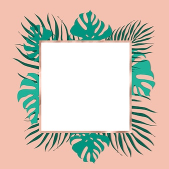 Cadre trendy tropical leaves avec décorations en or rose