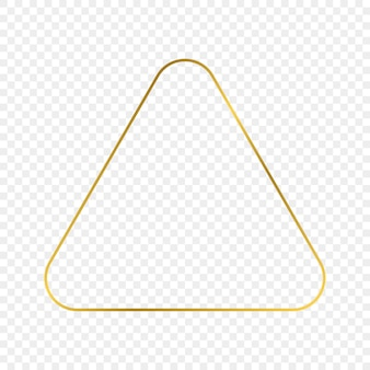 Cadre triangle arrondi brillant d'or isolé sur fond transparent. cadre brillant avec des effets lumineux. illustration vectorielle.
