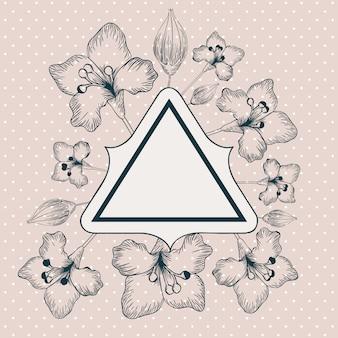 Cadre triangle décoratif lily fleurs