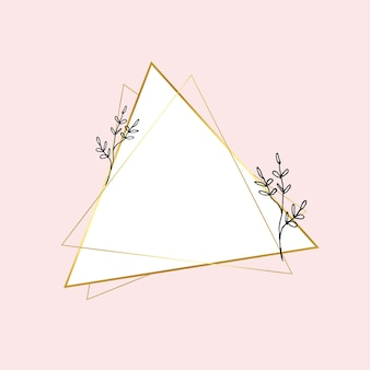 Cadre triangle doré avec dessin de fleur simple