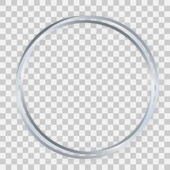 Cadre triple cercle brillant argenté avec effets lumineux et ombres sur fond transparent. illustration vectorielle