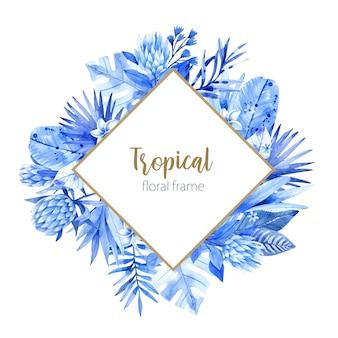 Cadre tropical aquarelle avec des feuilles et des fleurs dans les tons bleus.