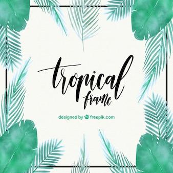 Cadre tropical avec feuilles de palmiers aquarelle