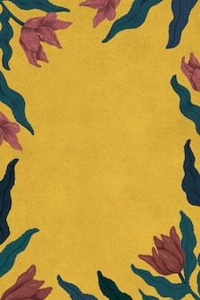 Cadre de tulipes en fleurs en illustration de fond jaune