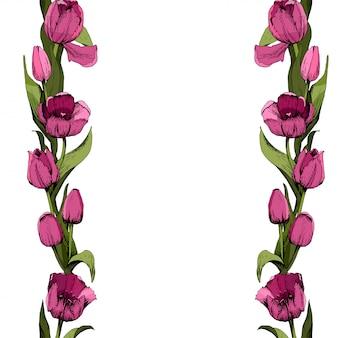 Cadre avec tulipes roses colorées