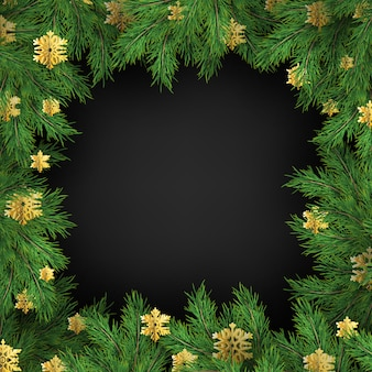 Cadre de vacances de noël de décorations de flocons de neige dorés et de branches de sapin.