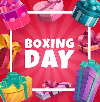 Cadre de vecteur de boxe day avec coffrets cadeaux, affiche