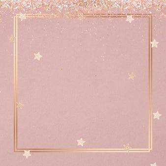 Cadre de vecteur chatoyant festif étoile rose motif de fond