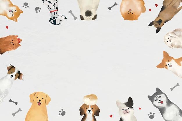 Cadre avec vecteur de chiens sur fond blanc