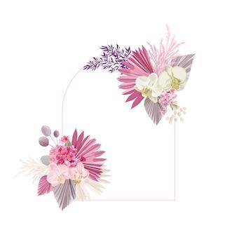 Cadre de vecteur de décoration florale. feuilles tropicales séchées, orchidée, couronne de mariage d'herbe de pampa. fleurs sèches exotiques, carte d'invitation boho de feuilles de palmier. modèle aquarelle, affiche moderne, design tendance