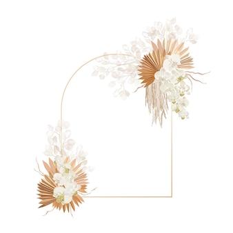 Cadre de vecteur de décoration florale. lunaria séchée, orchidée, couronne de mariage d'herbe de la pampa. fleurs sèches exotiques, carte d'invitation boho de feuilles de palmier. modèle aquarelle, affiche moderne de feuillage, design tendance