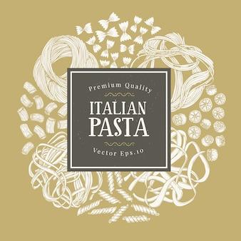 Cadre de vecteur avec différents types de pâtes italiennes traditionnelles.