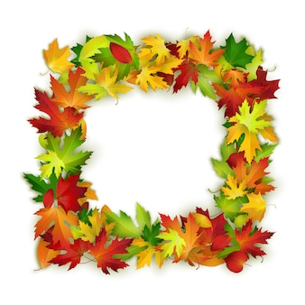 Cadre de vecteur avec des feuilles de l'automne colorés, design naturel, arrière-plan
