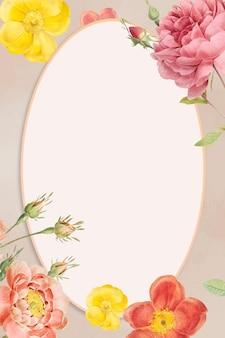 Cadre de vecteur floral fleuri coloré