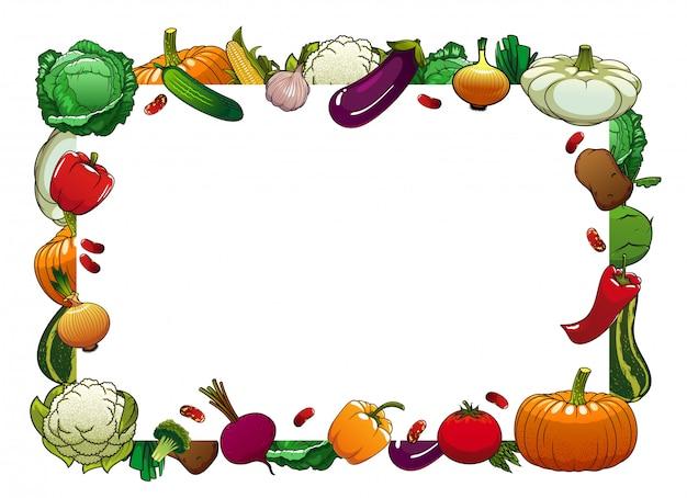 Cadre de vecteur isolé de légumes de la ferme, légumes crus
