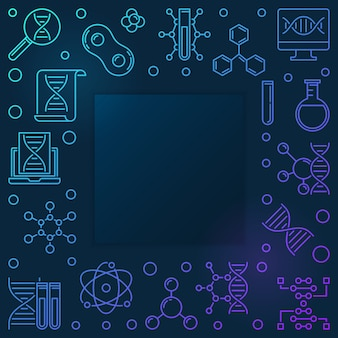 Cadre de vecteur linéaire carré bleu acide désoxyribonucléique
