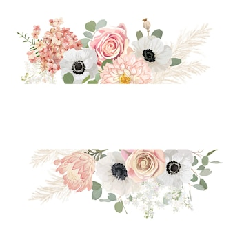 Cadre de vecteur de mariage floral aquarelle. herbe de la pampa, anémone, modèle de bordure de fleurs roses pour la cérémonie de mariage. carte d'invitation de printemps minimale, bannière d'été boho décorative