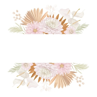 Cadre de vecteur de mariage floral aquarelle. herbe de la pampa, fleurs de dahlia, modèle de bordure de feuilles de palmier sèches pour la cérémonie de mariage, carte d'invitation minimale, bannière décorative d'été boho