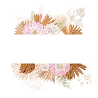 Cadre de vecteur de mariage floral aquarelle. herbe de la pampa, fleurs de dalia, modèle de bordure de feuilles de palmier sèches pour la cérémonie de mariage, carte d'invitation minimale, bannière décorative d'été boho