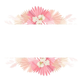 Cadre de vecteur de mariage floral aquarelle. herbe de la pampa, fleurs d'orchidées, modèle de bordure de feuilles de palmier sèches pour la cérémonie de mariage, carte d'invitation minimale, bannière décorative d'été boho