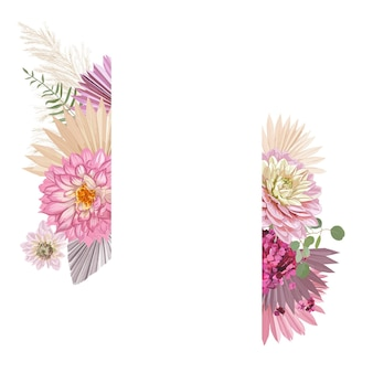 Cadre de vecteur de mariage floral aquarelle. herbe de la pampa, rose, fleurs de dahlia, modèle de bordure de feuilles de palmier sèches pour la cérémonie de mariage, carte d'invitation de luxe, bannière d'été boho, design rustique d'automne