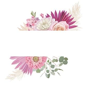Cadre de vecteur de mariage floral aquarelle. herbe de la pampa, rose, fleurs de dahlia, modèle de bordure de feuilles de palmier sèches pour la cérémonie de mariage, carte d'invitation de luxe, bannière hawaïenne d'été boho