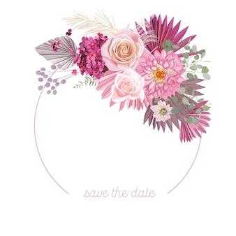 Cadre de vecteur de mariage floral boho. aquarelle rose, fleurs de dahlia, herbe de la pampa, modèle de bordure de feuilles de palmier sèches pour la cérémonie de mariage, carte d'invitation de luxe, bannière d'été rustique