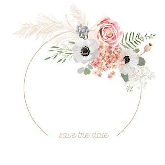Cadre de vecteur de mariage floral boho. herbe de pampa aquarelle, anémone, modèle de bordure de fleurs roses pour la cérémonie de mariage. carte d'invitation de printemps minimale, bannière d'été décorative