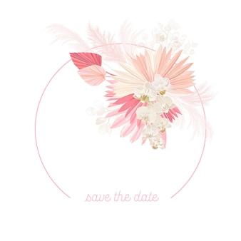 Cadre de vecteur de mariage floral boho. herbe de pampa à l'aquarelle, fleurs d'orchidées, modèle de bordure de feuilles de palmier sèches pour la cérémonie de mariage, carte d'invitation minimale, bannière d'été décorative