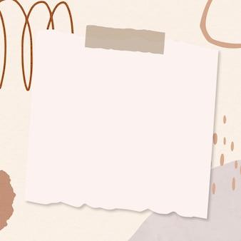 Cadre de vecteur de note de papier sur fond marron memphis