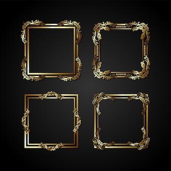 Cadre de vecteur d'or de luxe