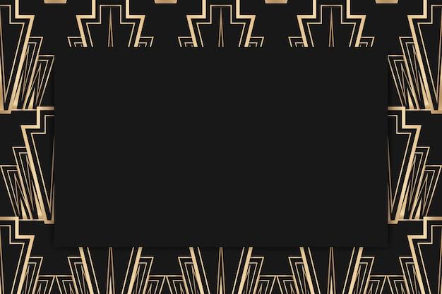 Cadre vectoriel art déco avec motif losange sur fond sombre