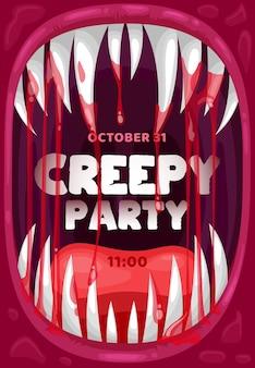 Cadre vectoriel de bouche de vampire d'horreur d'affiche d'invitation à la fête pour halloween. dracula hurlant, dépliant de dessin animé de monstre démon ou de bête extraterrestre avec des dents ensanglantées, des crocs et des gouttes de sang