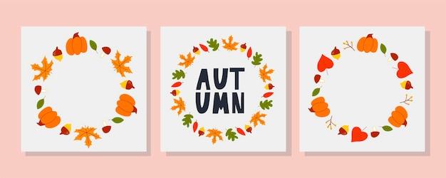 Cadre vectoriel de feuilles d'automne et de fruits dans une belle couronne ronde de style aquarelle