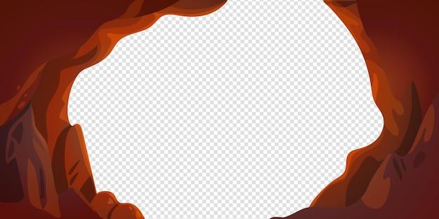 Cadre vectoriel de grotte ou de tunnel en style cartoon