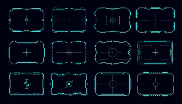 Cadre vectoriel hud du panneau de contrôle de l'objectif et des bordures de l'écran cible. interface utilisateur de jeu de science-fiction, éléments de conception numérique futuristes ui ou gui, écrans de viseur de la future technologie avec réticule néon