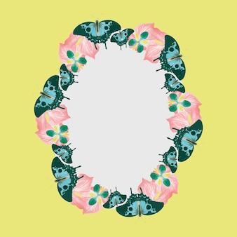 Cadre vectoriel à motif papillon vintage, remix de the naturalist's miscellany par george shaw