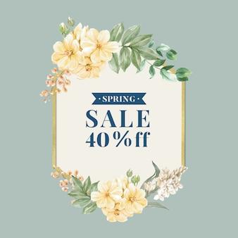 Cadre de vente au printemps floral