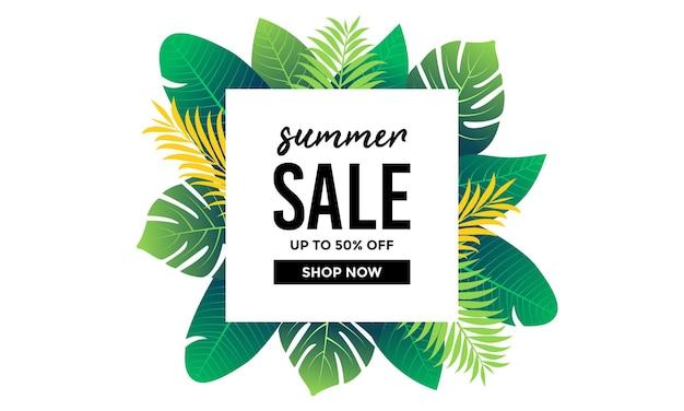 Cadre de vente d'été avec fond de feuilles tropicales