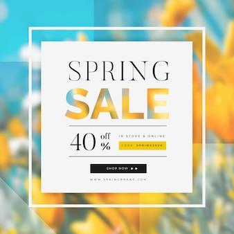 Cadre et vente de fleurs de printemps floue